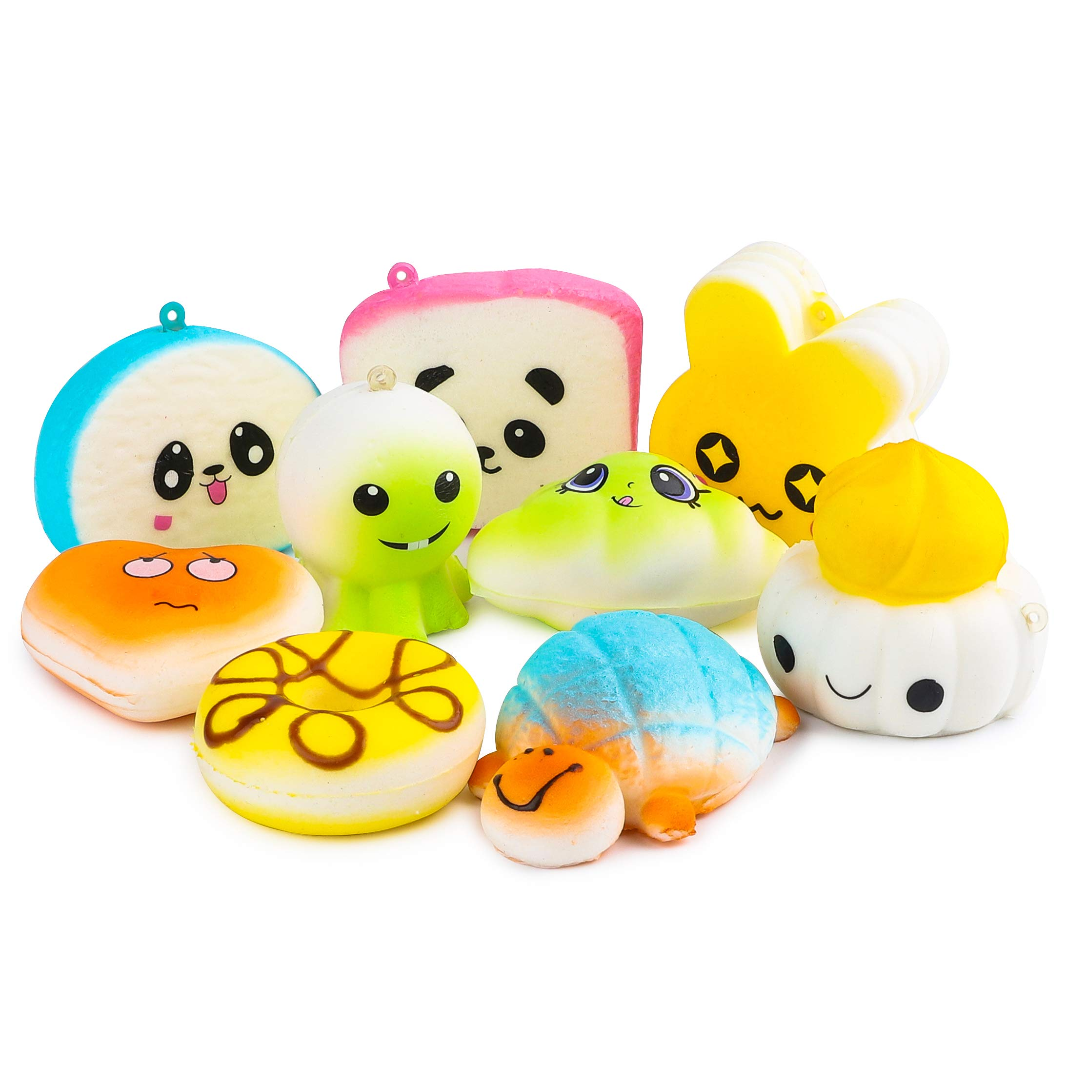 BeYumi Random 42 PCS Mini Squishy Toys 40 Kawaii Food Squishy 2 Animal Squishy Soft Cream Scented Slow Rising Squeeze Toys, Phone Straps for Kids Adults Party Favor by BeYumi (Image #6)