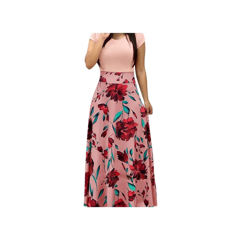 f0de766dbb1a6 Women Charming Floral Print Summer Patchwork Maxi Dress Short Sleeve  Vintage Boho Beach Long Dress at Amazon Women's Clothing store: