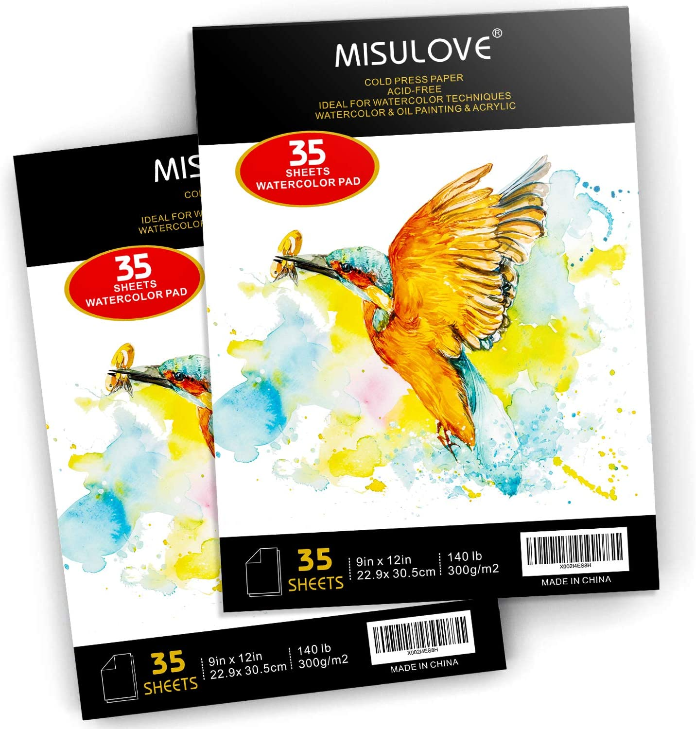 2 Pack Cold Pressed Acid Free Art Sketchbook Great for Watercolor Painting /& Drawing MISULOVE Watercolor Paper Pad 140lb//300gsm 70 Sheets 9 x 12 Mixed Media Textured Paper Wet