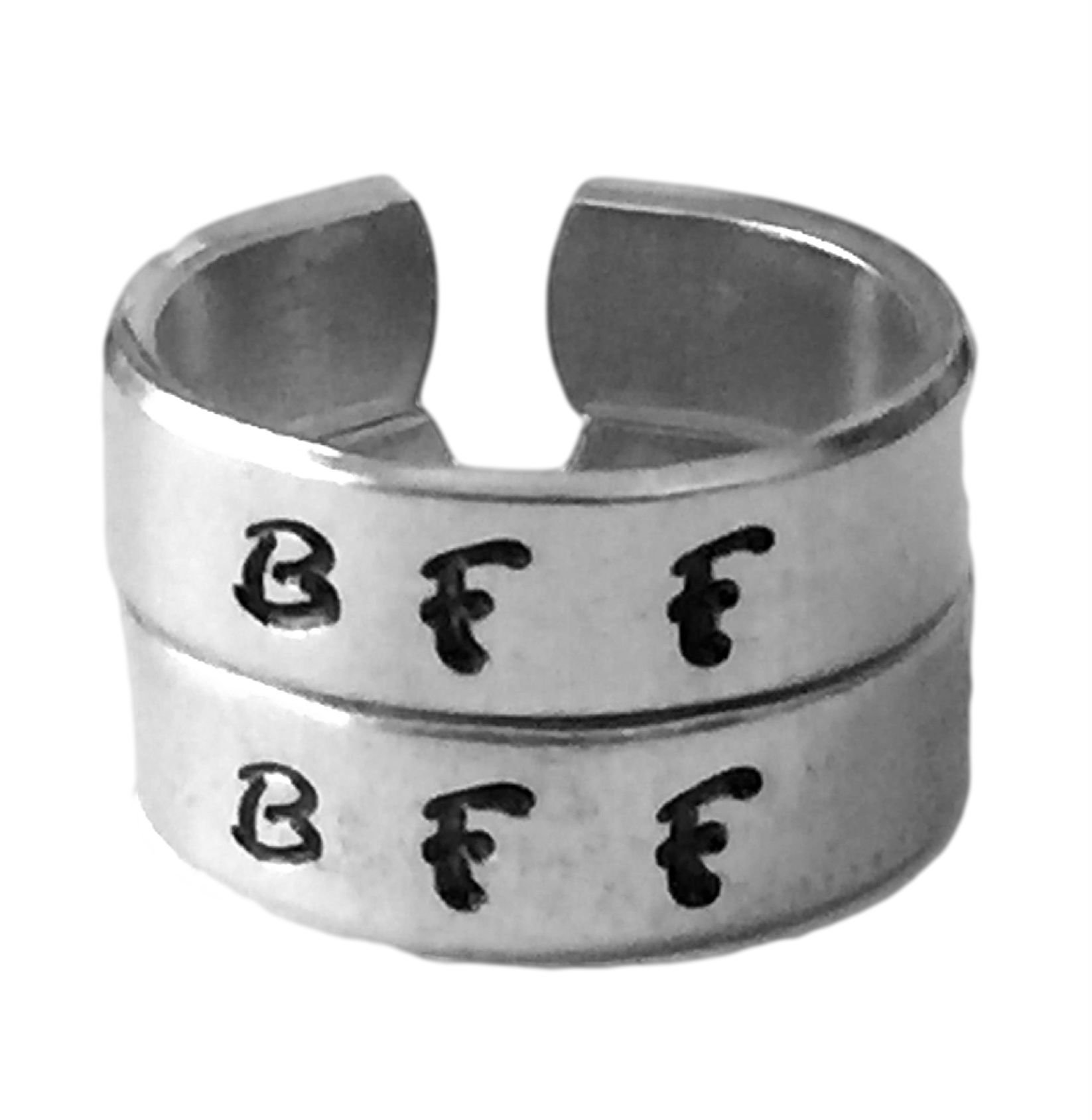 Set BFF Rings with Two Initials Best Friends Forever Matching Rings Hand Stamped Jewelry Love Gift