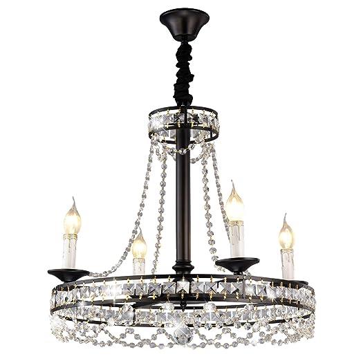 Ganeed K9 Crystal Chandelier,Industrial Vintage Kitchen Island Candle  Chandeliers,4-Lights Black Pendant Light Fixtures,Hanging Lights for Living  ...