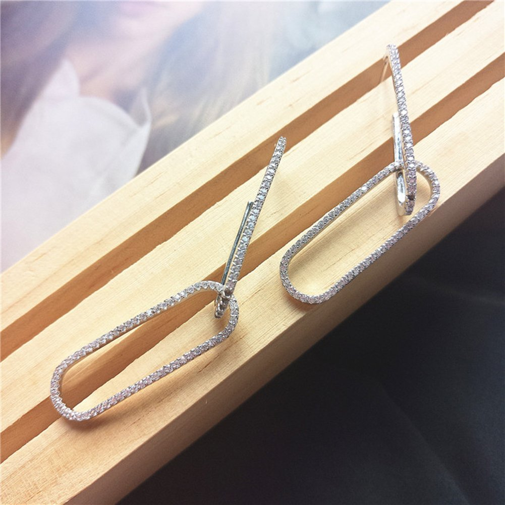 925 Sterling Silver With Diamond Curve Pin Earring