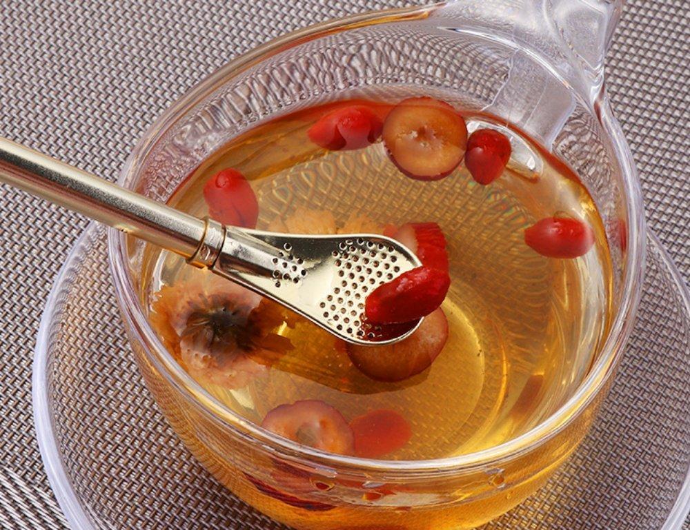 Lu & Lu Juego de 3 Metal acero inoxidable pajitas fiable hecho a filtro sedimentos bebida paja para calabaza de infusión de yerba Mojitos de té bebidas Stir ...