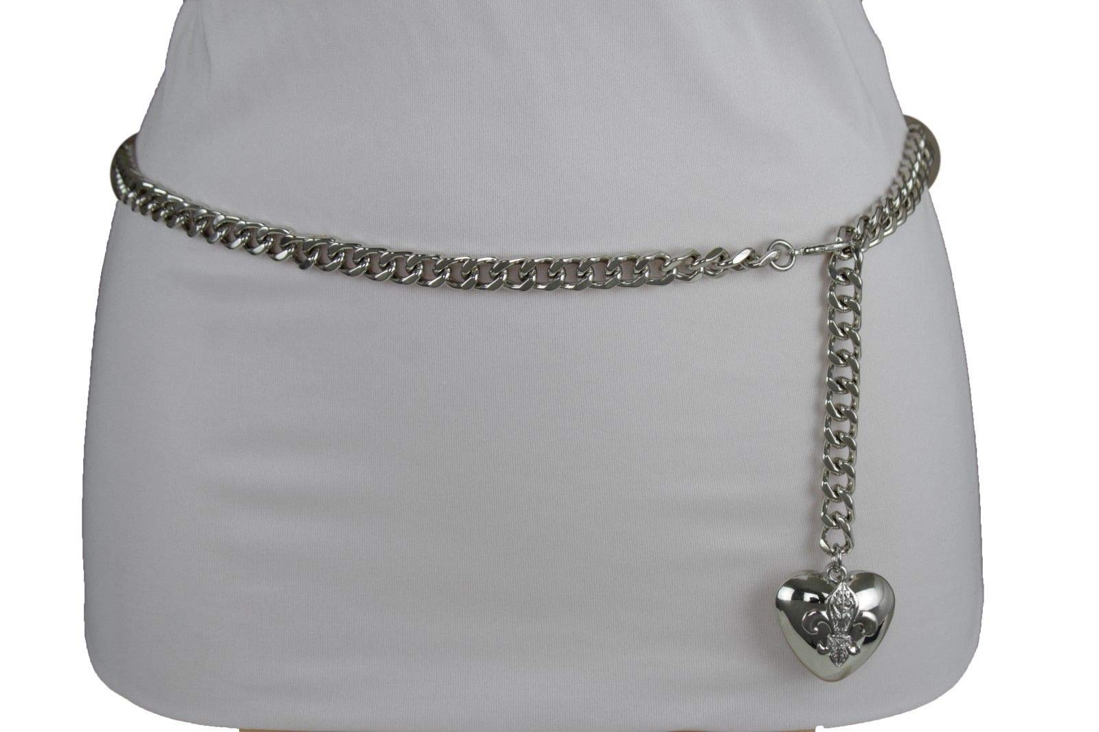 Women Hip Waist Silver Metal Chain Fashion Belt Love Heart Buckle Charm XS S M by RIX Fashion Luxury (Image #3)