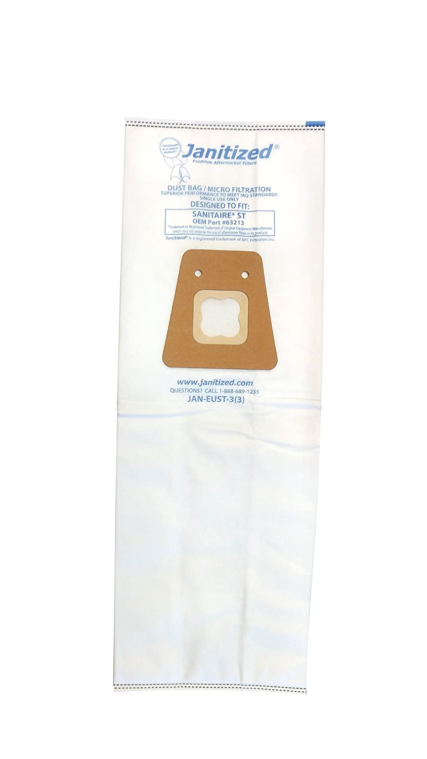 Janitized JAN-EUST-3(3) Premium Replacement Commercial Vacuum Paper Bag, Sanitaire Style ST Model 600, 800, for Use on Models with Tube Extension, OEM# 63213, 63213A, 63213B and 79524 (Pack of 3)