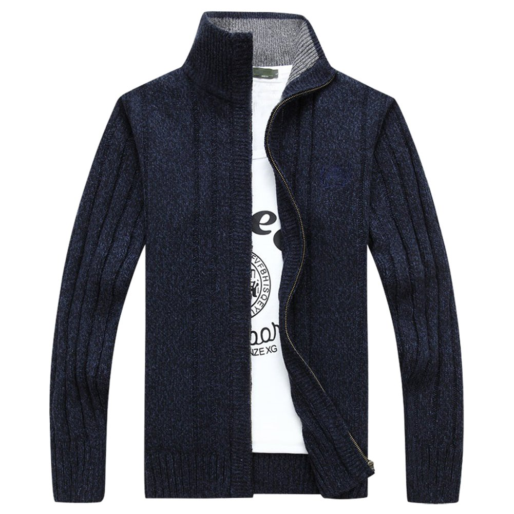 OCHENTA Men's Casual Zip-up Knitted Cardigan Sweater O203-01