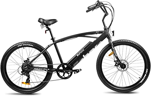Eahora 26 Inch Beach Cruiser Electric Bicycle 36V 10.4Ah Removable Lithium Battery Fashionable Urban Electric Bike for Adults 350W Motor Ebike E-PAS Recharge System 7 Speed