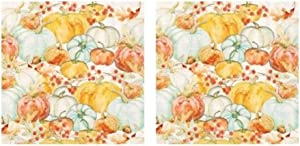 Watercolor Pumpkins Harvest 3-Ply Paper Cocktail Napkins 40-Count, Fall Autumn Decor Barware Beverage Serviettes