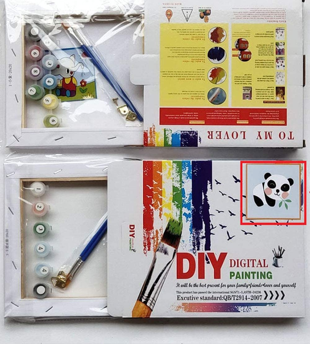 Nobranded DIY Oil Painting,Paint by Number Kits for Kids and Adults Beginner Fish Pattern 8x8inch Framed Canvas