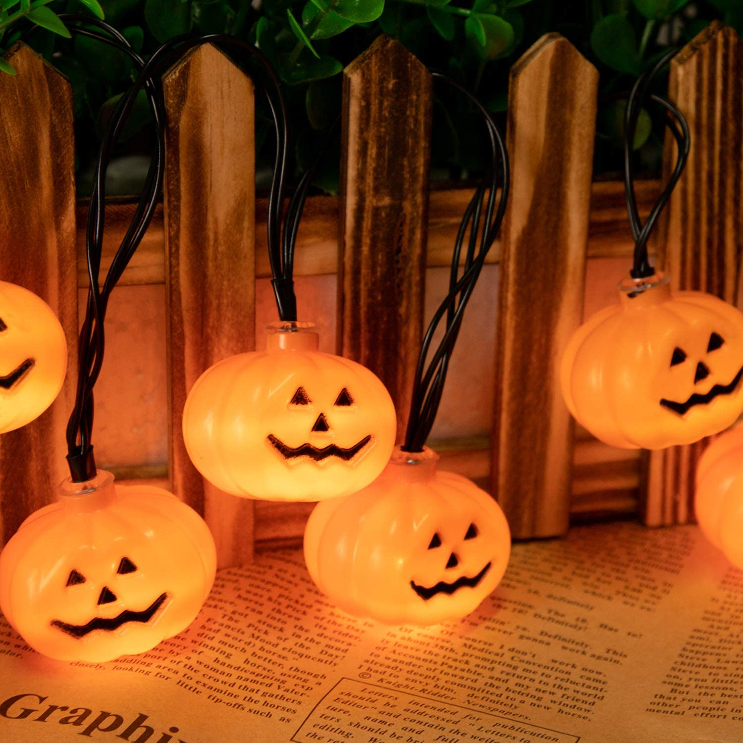 Minetom Halloween String Lights Battery Operated 30 LED 11.5Ft 3D Pumpkin Halloween Lights with 2 Light Modes for Outdoor /& Indoor Halloween Party Decorations