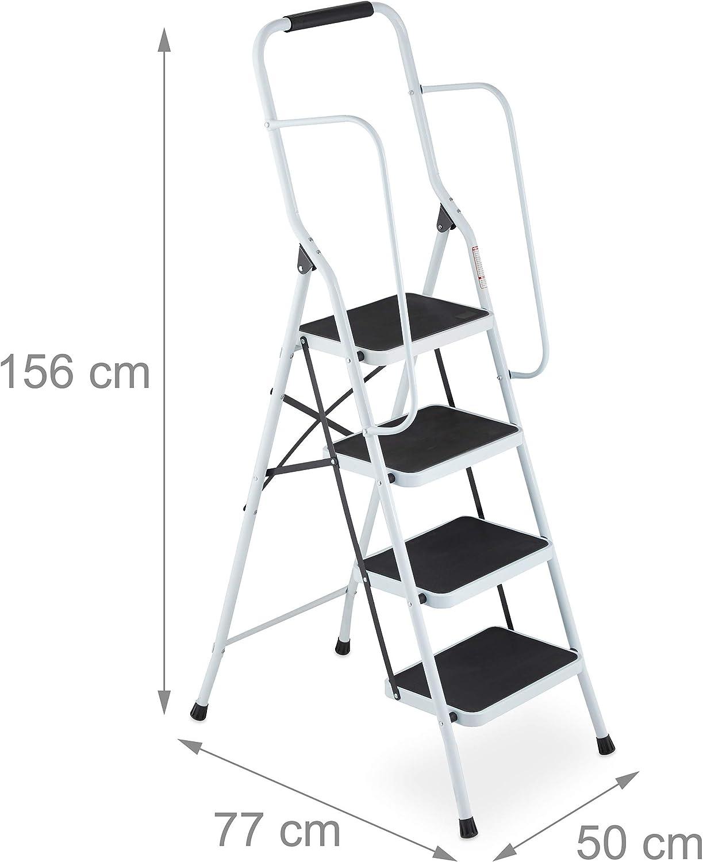 Relaxdays Escalera Plegable con Pasamanos y Arco de Seguridad, 4 Peldaños, 156 x 50 x 77 cm, Acero, Blanco: Amazon.es: Hogar