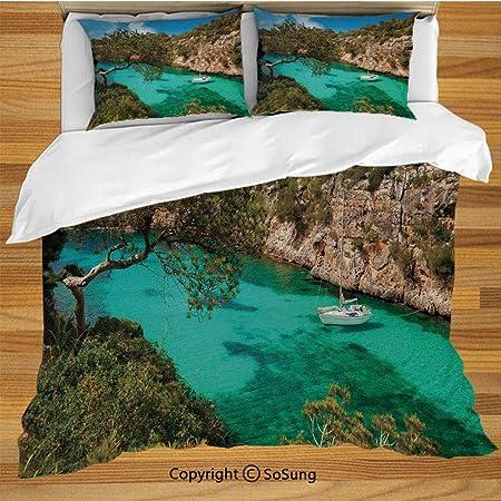 Nature Bedding Juego de funda nórdica, pequeño yate flotando en el mar Mallorca España Rocky Hills
