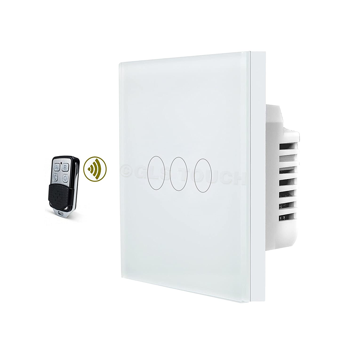 Glstouch Smart Rf Touch Light Switch White Glass Panel 3 Gang 1 Back Box Particularly With Multigang Switches In 2way Or Way 2 Multi Control Via Radio Frequency 43392mhz Pairing Hand Held