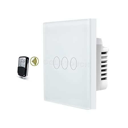GLSTouch Smart RF Touch Light Switch, White Glass Panel, 3 Gang 1 ...