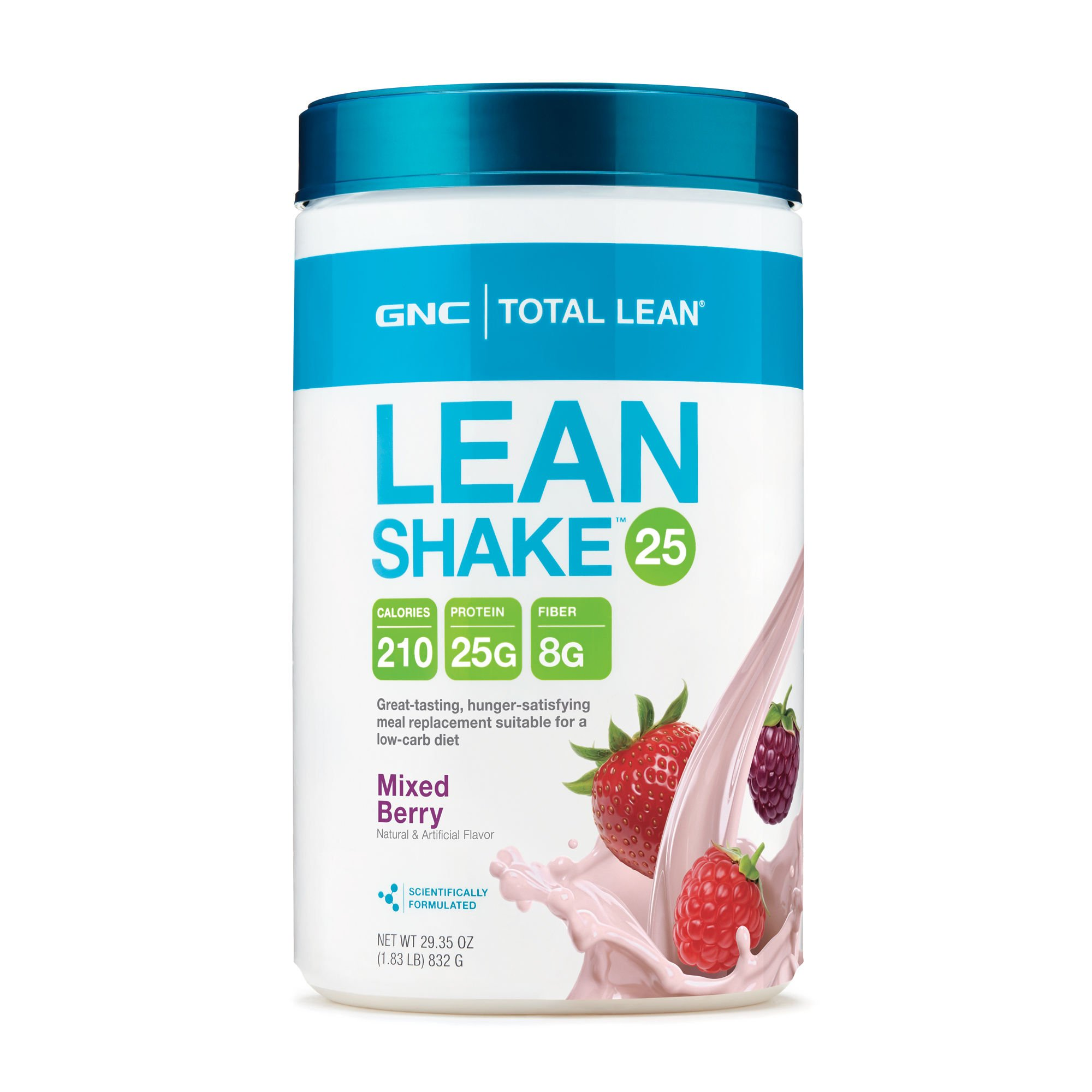 GNC Total Lean 25 Meal Replacement Shake for Weight Loss and Low-Carb Diets, Mixed Berry, 16 Servings, Protein Powder for Weight Management Support