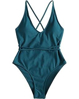 343bd29222 ZAFUL Sexy One Piece Swimsuit High Cut Crossback Crisscross Black Bathing  Suit Swimwear for Women