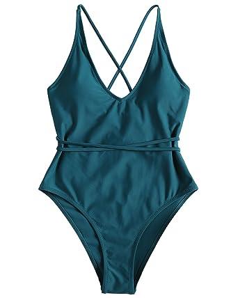 32878c52559 ZAFUL Sexy One Piece Swimsuit High Cut Crossback Crisscross Black Bathing  Suit Swimwear for Women - - Small: Amazon.co.uk: Clothing