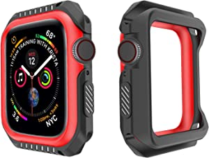 Kamon Watch Case Designed for Apple Watch Series 6, 5, 4, 3, 2, 1, Shatter-Resistant Bumper case for Apple Watch 38mm 40mm 42mm 44mm (Black Red, 42mm)