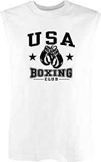 T-Shirtshock Canottiera Uomo Bianco WTC1524 USA Boxing