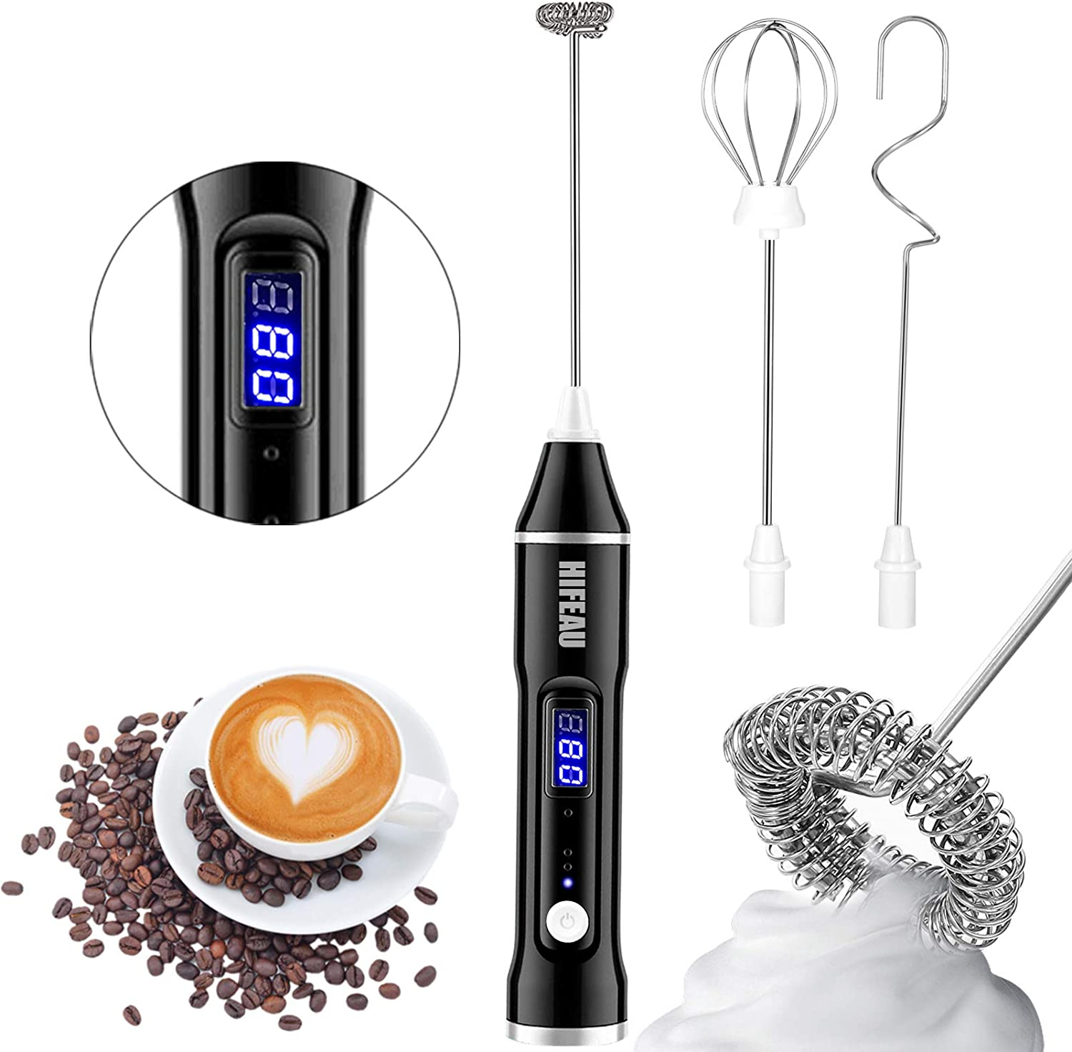 Milk Frother Handheld with 3 heads, USB Rechargeable 3 Speeds Mini Electric Whisk Milk Foam Maker Blender, Power Display Frother for Coffee, Latte, Egg Whisk… (Black)