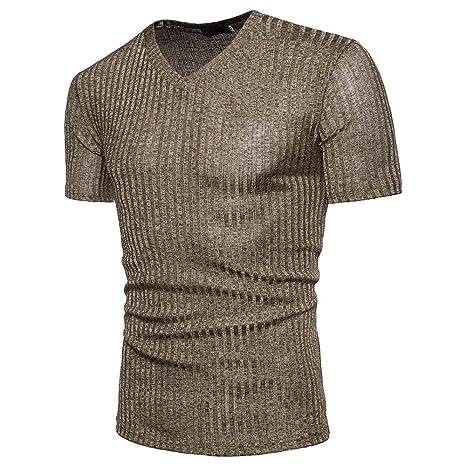 HWTOP T-Shirt Männer Bluse Kurzarm Fit Pullover Mode Shirt V-Ausschnitt Casual Top