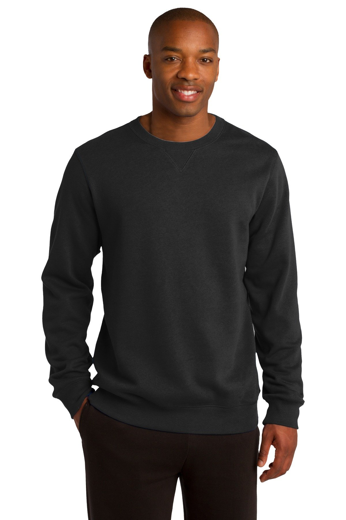Sport-Tek Men's Crewneck Sweatshirt S Black by Sport-Tek
