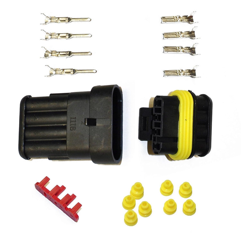 KFZ Ersatz Stecker 282088-1 SET 282106-1 AMP Tyco Superseal 1.5 Kit 4-pin