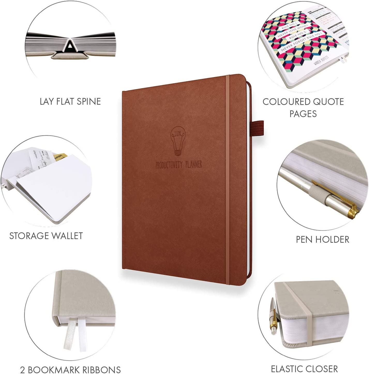 Thoughtful Details and Durable Features Dark Brown Crafted to Increase Productivity Track Goals and Achieve Well Being Personal Organizer a5 Planner Habit Tracker