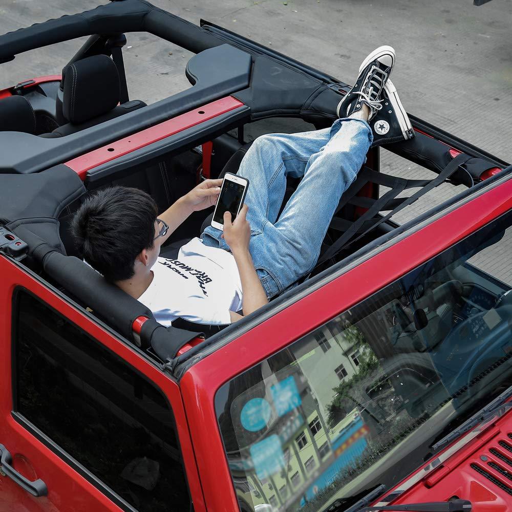 Mesh Cargo Net Auto Roof Net Hammock for Jeep Wrangler YJ TJ JK JKU JL JLU 1987-2019