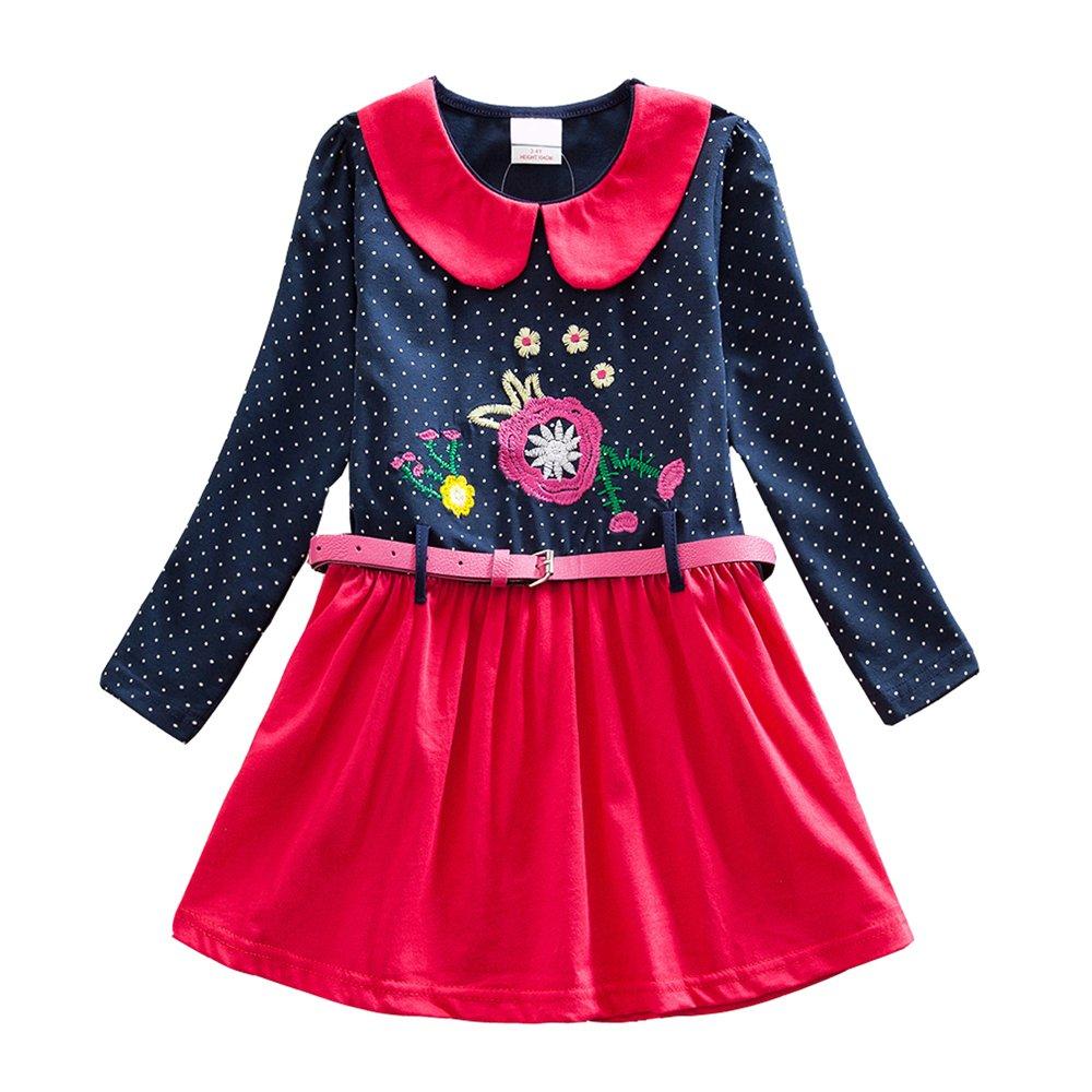 VIKITA Kid Girls Cotton Embroidery Rainbow Long Sleeve Flower Dress 1-8 Years