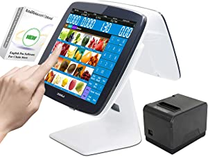 ZHONGJI 2020 Cash Register Smart Touch Screen PC POS System for Restaurants or Retail with POS Software,80MM Thermal Receipt Printer