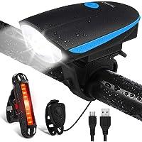 Luci per Bicicletta, OMERIL Luci Bicicletta LED Ricaricabili USB con Clacson, Luce Bici Anteriore e Posteriore Super Luminoso Luce Bici LED per Bici Strada e Montagna- Sicurezza per Notte