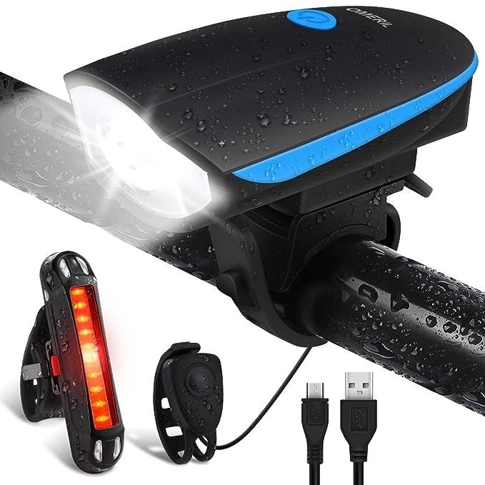 150 opinioni per Luci per Bicicletta, OMERIL Luci Bicicletta LED Ricaricabili USB con Clacson,