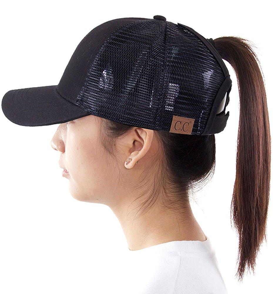 ScarvesMe C.C Exclusive Mesh Ponytail Messy Bun Ponycap Baseball Cap (Black)