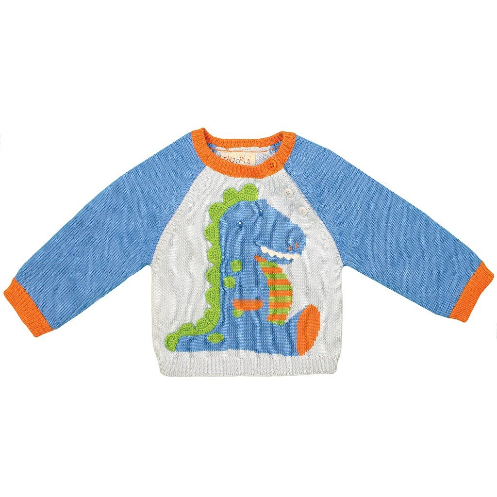 Zubels Hand-Knit Dinosaur Sweater, 3T - All-Natural Fibers, Eco-Friendly Blue by Zubels