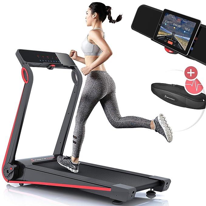 Sportstech Cinta de Correr F17, Consola futurista, 2.5PS, 12 KM/H, Sistema de lubricación, Correa de Pulso por Valor de 39,90 €, incluida, App Smartphone, ...