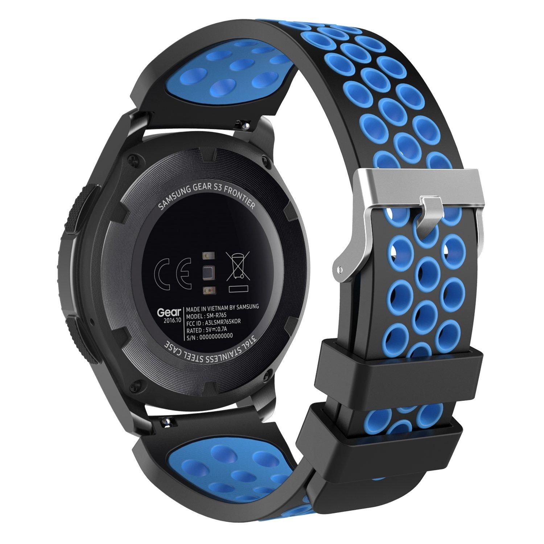 ... Compatible con Samsung Gear S3 Frontier, S3 Classic, Garmin Vivomove, Moto 360 2nd Gen 46mm Reloj Inteligente, Negro & Azul: Amazon.es: Electrónica
