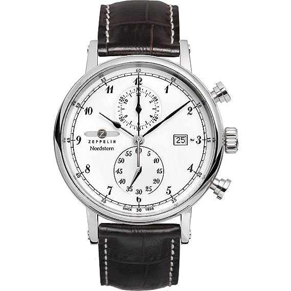 Zeppelin Watches 7578-1 - Reloj analógico de cuarzo para hombre con correa de piel, color negro: Amazon.es: Relojes