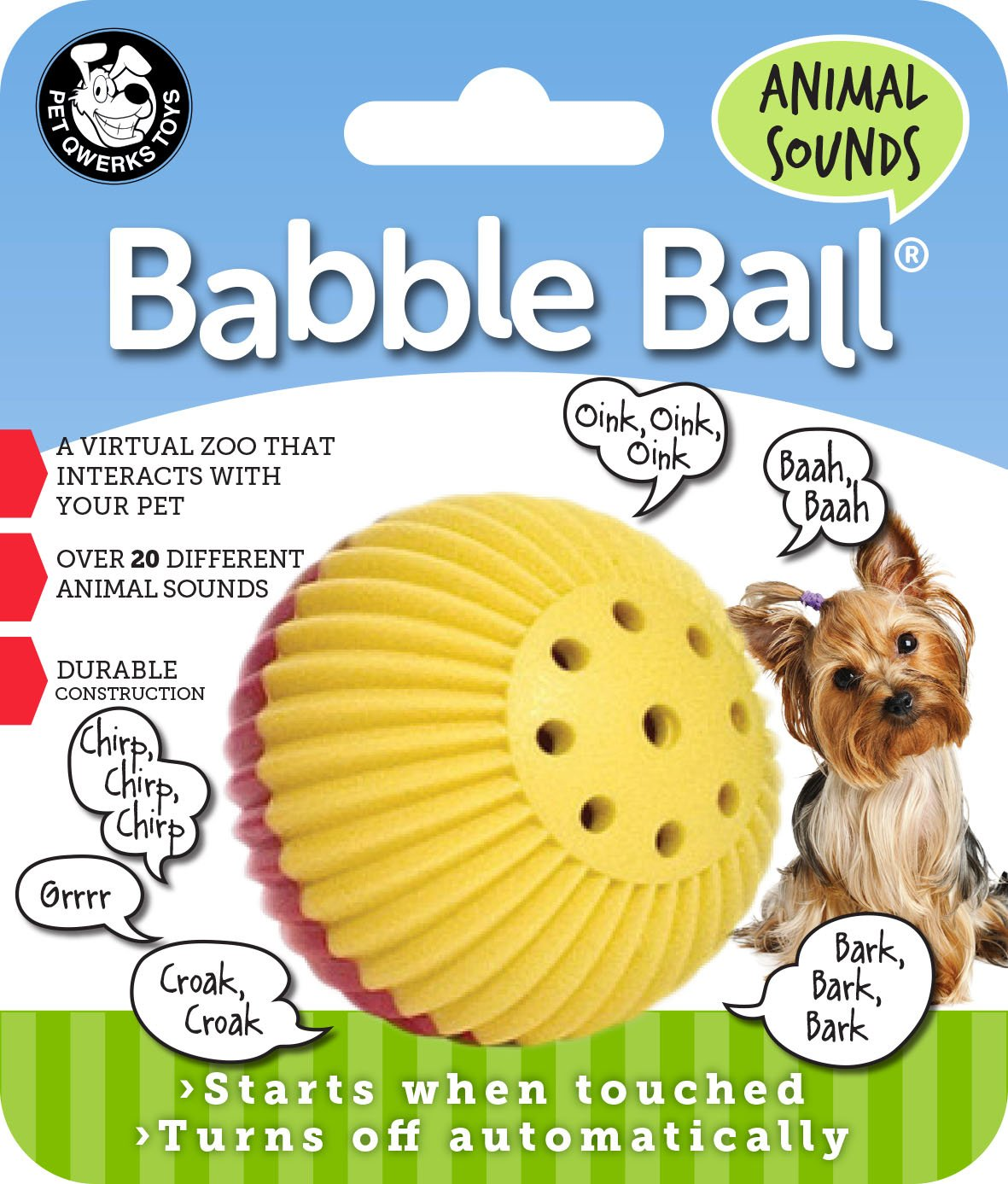 Pet Qwerks – Balle Babble Ball bruitage d'animaux ABB3