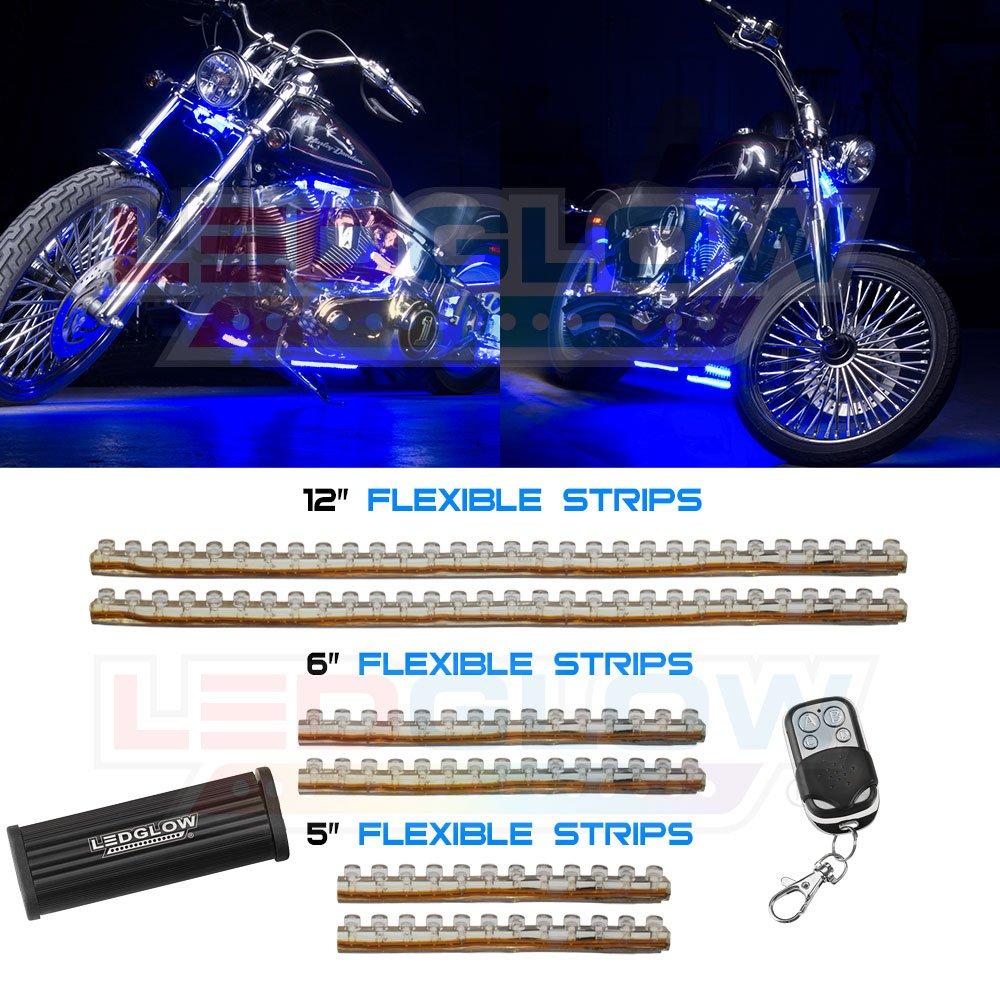 Amazon.com LEDGlow 6pc Blue Flexible Motorcycle Lighting Kit - 114 LEDs - Strobe and Flash Modes - Wireless Remote Automotive  sc 1 st  Amazon.com & Amazon.com: LEDGlow 6pc Blue Flexible Motorcycle Lighting Kit ... azcodes.com