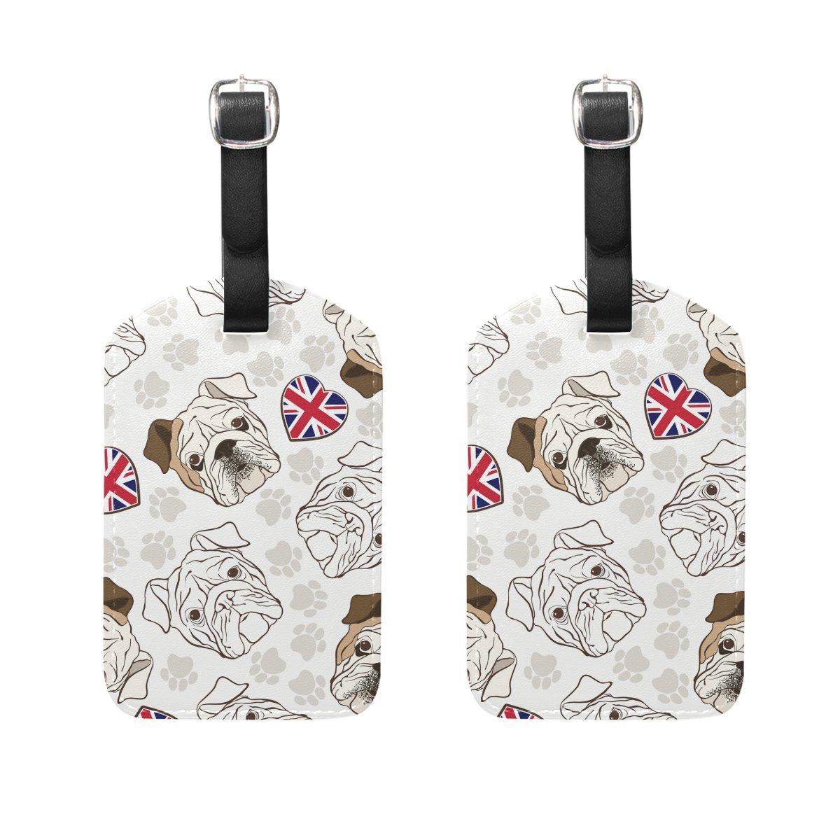 COOSUN English Bulldog Luggage Tags Travel Labels Tag Name Card Holder for Baggage Suitcase Bag Backpacks 2 PCS