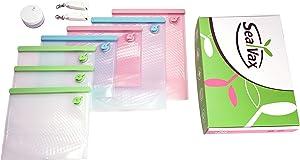 SealVax Vacuum System, Family 2, Food Grade, BPA free Reusable Storage Vacuum Bag with portable micro vacuum pump, Reduce Plastic bag, Cook, Sous Vide, liquid isolator, battery free, Dishwasher-Safe