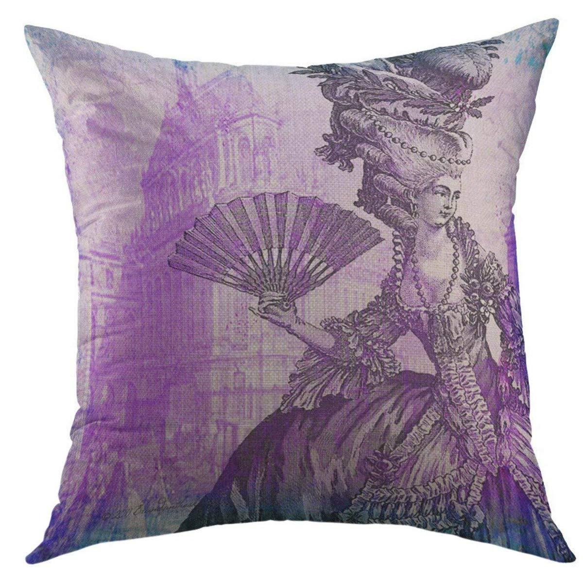 Mugod Decorative Throw Pillow Cover for Couch Sofa,Blue Antique Marie Antoinette Versailles Purple Vintage Home Decor Pillow case 18x18 Inch