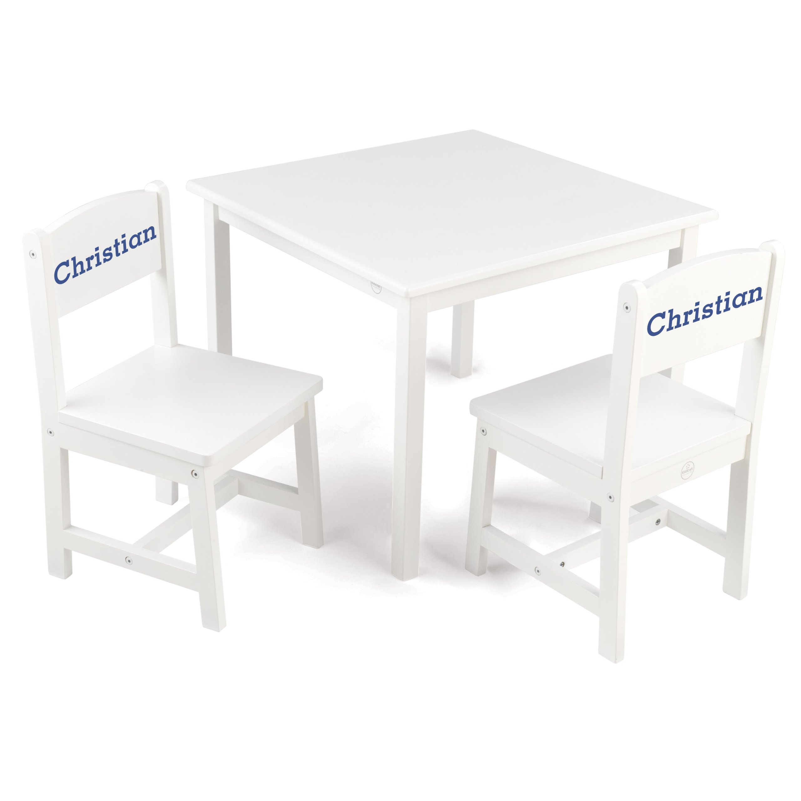 KidKraft Aspen Table and Chair Set White with Blue Serif - Christian by KidKraft