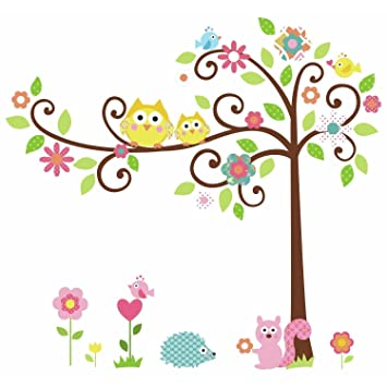 Superbe Removable Wall Decal Cartoon Wall Decor Stickers Wallpaper Owl Tree Squirrel