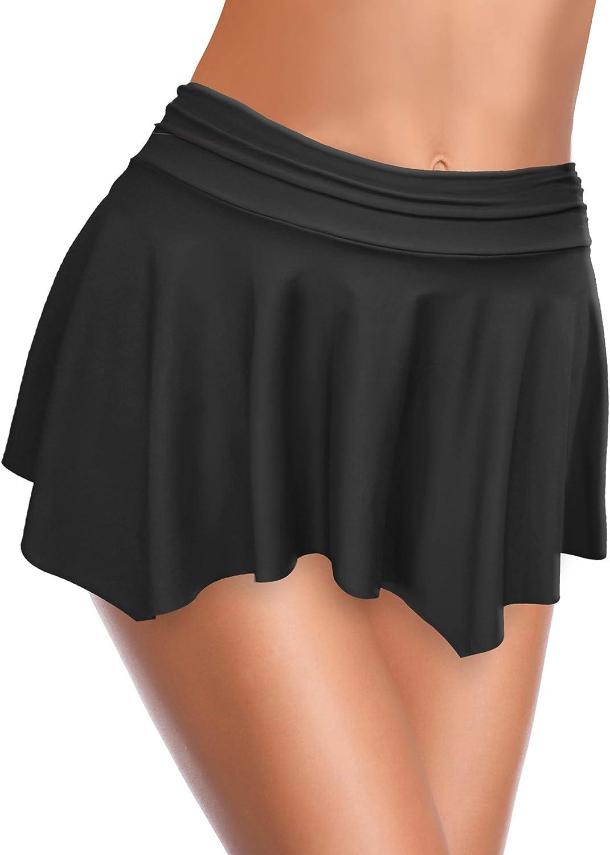 SHEKINI Irr/égulier Jupe de Bain Femme Bikini Bas de Maillots de Bain Jupette avec Int/égr/é Taille Haute Boxeur Pantalons /Él/égant Jupe de Sport de Short de Bain Ruched Bikini de Plage