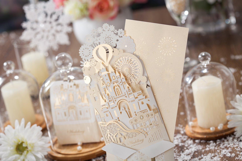Amazon.com: Wishmade 50x Laser Cut 3D Gold Gilding Wedding ...