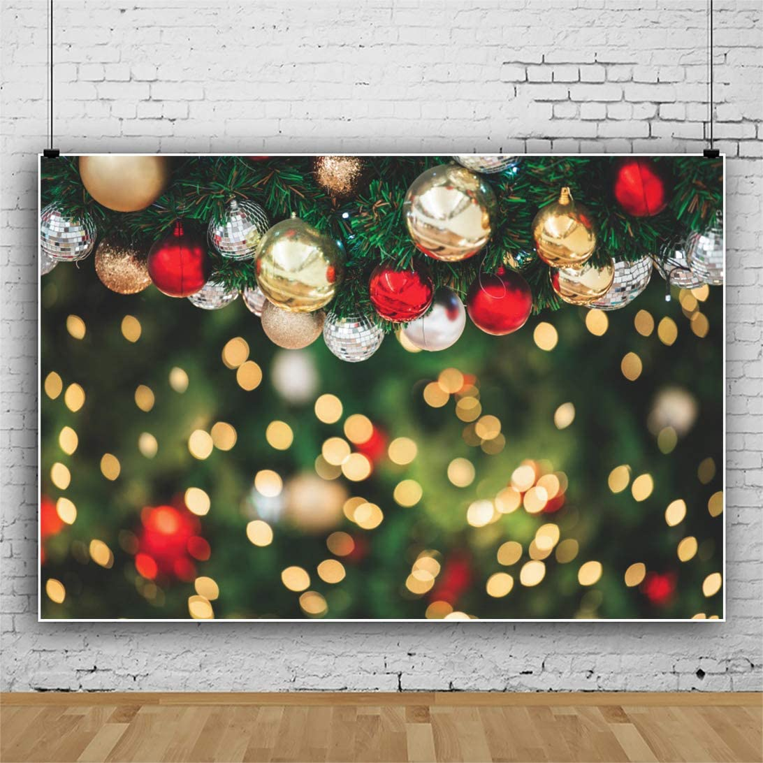 DaShan 10x8ft Merry Christmas Backdrop Christmas Party Happy New Year Eve Party Xmas Tree Ornament Photography Background Bokeh Halo New Year Home Family Decor YouTube Photo Studio Props