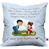 Indigifts Raksha Bandhan Gifts for Brother Bro Like Father Quote Blue Cushion Cover 12x12 inches with Filler - Special Rakhi Gifts for Brother, Brother Gifts for Birthday, Rakshabandhan Gifts