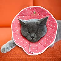 Pet Cute Comfy Cone - Post Surgery Stress-Free Recovery Collar - Water-Resistant, Easy to Wipe, Clean, Air Dry - with Adjustable Loop Type Fasteners for Cats & Dogs - No Vision Blockage
